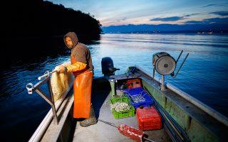 Τα δίχτυα του ετοιμάζεται να ρίξει στη λίμνη της Γενεύης ο Νικολά Κλερ, η οικογένεια του οποίου ψαρεύει στη λίμνη εδώ και πέντε γενιές.