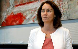 Η υπουργός Δικαιοσύνης Καταρίνα Μπάρλεϊ σε συνάντηση των Σοσιαλδημοκρατών στο Βερολίνο.