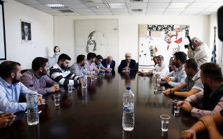 Ο Κ. Γαβρόγλου κατά τη συνάντησή του με εκπροσώπους της παράταξης ΔΑΠ-ΝΔΦΚ, στο υπουργείο Παιδείας.