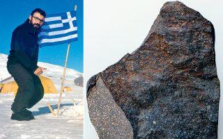 Αριστερά, ο Ιωάννης Μπαζιώτης, ο πρώτος Ελληνας που πέρυσι τον χειμώνα συμμετείχε στην αποστολή ANSMEΤ της NASA για αναζήτηση μετεωριτών στην Ανταρκτική. Δεξιά, το πολύτιμο έκθεμα φιλοξενείται στο Μουσείο Φυσικής Ιστορίας της Βιέννης.