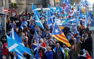 Χθεσινή πορεία στο Εδιμβούργο διαδηλωτών υπέρ της ανεξαρτησίας της Σκωτίας