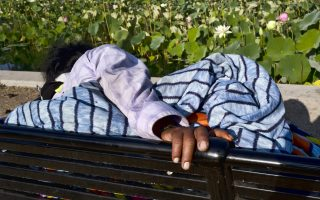 In this Thursday, July 26, 2018 photo a homeless person sleeps on a park bench along a grove of lotus flowers at Echo Park Lake in Los Angeles. (AP Photo/Richard Vogel)