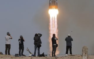 The Soyuz-FG rocket booster with Soyuz MS-10 space ship carrying a new crew to the International Space Station, ISS, blasts off at the Russian leased Baikonur cosmodrome, Kazakhstan, Thursday, Oct. 11, 2018. The Russian rocket carries U.S. astronaut Nick Hague and Russian cosmonaut Alexey Ovchinin. Two astronauts from the U.S. and Russia are making an emergency landing after a Russian booster rocket carrying them into orbit to the International Space Station has failed after launch. (AP Photo/Dmitri Lovetsky)