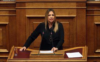 H επικεφαλής του Κινήματος Αλλαγής Φώφη Γεννηματά μιλάει από το βήμα στη συζήτηση και ψήφιση επί της αρχής των άρθρων και του συνόλου του Σ/Ν του Υπουργείου Εσωτερικών