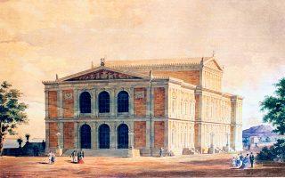 Σxέδιο του Eρνέστου Τσίλλερ για το Θέατρο της Ζακύνθου (1872).