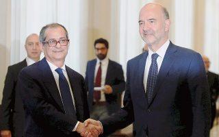 Ο επίτροπος Πιερ Μοσκοβισί, που μετέβη στη Ρώμη με σκοπό ακριβώς τις διαβουλεύσεις με τον Ιταλό υπουργό Οικονομικών Τζοβάνι Τρία, δήλωσε πως είχε «μια πολύ εποικοδομητική συζήτηση μαζί του», αν και χαρακτήρισε «λόγο ανησυχίας για την Ε.Ε. και για άλλες χώρες-μέλη της» τον επίμαχο στόχο του 2,4% για το δημοσιονομικό έλλειμμα του 2019.