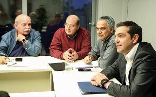 Ο κ. Αλ. Τσίπρας κατά τη χθεσινή συνεδρίαση της Πολιτικής Γραμματείας του κόμματος. Δίπλα του οι κ. Πάνος Σκουρλέτης, Νίκος Φίλης και Νίκος Βούτσης.