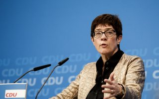 Christian Democratic party's, CDU, general secretary Annegret Kramp-Karrenbauer gives a statement in Berlin Sunday, Oct. 28, 2018. after her party lost in the election in the German state of Hesse. (Carsten Koall/dpa via AP)