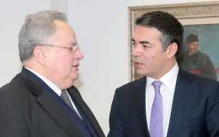 O υπουργός Εξωτερικών Νικόλαος Κοτζιάς (Α)  συνομιλεί με τον υπουργό Εξωτερικών της ΠΓΔΜ Νικόλα Δημητρόφ (Δ) (Nikola Dimitrov), Παρασκευή 23 Μαρτίου 2018. Διήμερη επίσκεψη στην πρώην Γιουγκοσλαβική Δημοκρατία της Μακεδονίας (ΠΓΔΜ) πραγματοποιεί ο υπουργός Εξωτερικών Νικόλαος Κοτζιάς. ΑΠΕ-ΜΠΕ//ΑΠΕ-ΜΠΕ/pool/Παντελής Σαίτας/pool