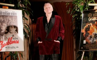 Playboy founder Hugh Hefner is photographed at the entrance to his movie theatre at the Playboy Mansion in the Holmby Hills area of Los Angeles Friday, April 7, 2006. The movie