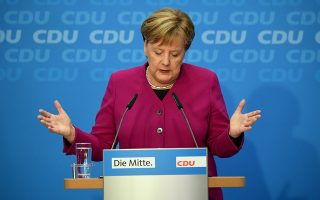 epa07129198 German Chancellor Angela Merkel speaks during a press conference after the board meeting of Christian Democratic Union (CDU) party in Berlin, Germany, 29 October 2018. According to reports, Merkel will not run for re-election as chairwoman of the CDU at the party convention on 07 December 2018.   EPA/CLEMENS BILAN