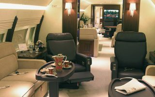 TO GO WITH AFP STORY- LIFESTYLE-US-AIR-TRAVEL-AVIATION BY JITANDRA JOSHI-This handout photo received courtesy of Lufthansa 18 October 2006, shows the lounge area in a Boeing Business Jet 2 VIP Executive Jet.If you have the deepest of pockets and are fed up with the hassles of regular air travel, your options for flying in mile-high luxury are growing by the day.The market for executive travel is evolving from small business jets, whose range is limited, to include long-haul Boeing 787s equipped with 42-inch (107-centimetre) plasma televisions, showers and five-star bedrooms. Along the way have come premium airlines offering new standards of service on lucrative transatlantic routes, and leasing companies like NetJets for customers who want to own a share of a private jet.The Boeing unit is getting more orders from tycoons in Russia, the Middle East and Asia, according to BBJ president Steven Hill, who noted there is also a boom in sales of superyachts for the super-rich. AFP PHOTO/LUFTHANSA TECHNIK AG/GREGOR SCHLAEGER/HO =RESTRICTED TO EDITORIAL USE= NO SALES =GETTY OUT=