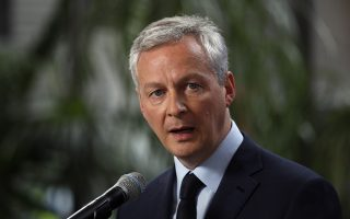 France's Finance Minister Bruno Le Maire delivers his statement at Bercy ministry, in Paris, Tuesday, May 15, 2018. Le Maire and Le Drian said they are determined to preserve the interests of French companies which have invested in Iran, following U.S. decision to withdraw from the Iran nuclear agreement and to impose tough economic sanctions on the country. (AP Photo/Francois Mori)