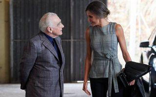 Η βασίλισσα υποδέχτηκε τον αμερικανό σκηνοθέτη Martin Scorsese για μια εκδήλωση προς τιμήν του.