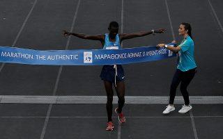 Athletics - Athens Marathon - Athens, Greece - November 12, 2017 - Kenyan Samuel Kalalei reacts while finishing first in the Athens Marathon Men's race. REUTERS/Alkis Konstantinidis