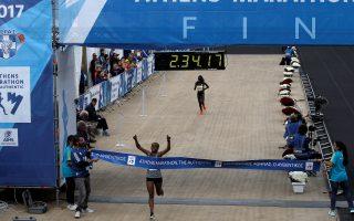 Athletics - Athens Marathon - Athens, Greece - November 12, 2017 - Ethiopian Bedaru Badane reacts while finishing first in the Athens Marathon Women's race. REUTERS/Alkis Konstantinidis