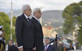 Ο Πρόεδρος της Ελληνικής Δημοκρατίας, Προκόπης Παυλόπουλος (Δ), και ο Ιταλός ομόλογός του, Σέρτζιο Ματαρέλα (Sergio Mattarella) (A), παρευρέθησαν στην 75η επέτειο Σφαγής της