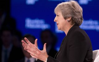 British Prime Minister Theresa May speaks at the Bloomberg Global Business Forum, Wednesday, Sept. 26, 2018, in New York. (AP Photo/Mark Lennihan)