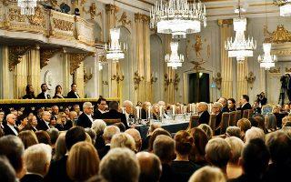 Το ετήσιο επίσημο δείπνο της Σουηδικής Ακαδημίας στην επιβλητική αίθουσα του παλιού χρηματιστηρίου της Στοκχόλμης, πέρυσι τον Δεκέμβριο, ενώ οι πρώτες σκιές του σκανδάλου είχαν ήδη κάνει την εμφάνισή τους. © T News Agency/Jonas Ekstromer/REUTERS