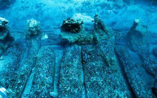 Μέρος από το σκαρί που πλοίου που αποκαλύφθηκε και μελετήθηκε (φωτ. ΥΠΠΟΑ/ΕΕΑ Αλέξης Τούρτας)