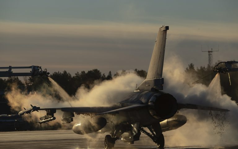 epa07118240 A handout photo made available by the US Air Force shows a US Air Force F-16 Fighting Falcon assigned to the 480th Expeditionary Fighter Squadron being de-iced in preparation of the NATO military exercise Trident Juncture 18, at Kallax Air Base, Sweden, 24 October 2018 (issued 25 October 2018). According to reports, some 50,000 participants from over 30 nations are expected to take part in the NATO-led military exercise in Norway from 25 October to 23 November 2018.  EPA/LT CASEY D RODRIGUEZ / US AIR FORCE HANDOUT  HANDOUT EDITORIAL USE ONLY/NO SALES