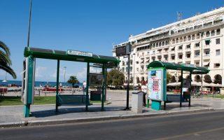 Άδεια στάση λεωφορείων στη Θεσσαλονίκη, καθώς οι εργαζόμενοι στον Οργανισμό Αστικών Συγκοινωνιών Θεσσαλονίκης (ΟΑΣΘ) αποφάσισαν να προχωρήσουν σε επίσχεση εργασίας, διεκδικώντας την καταβολή δεδουλευμένων, Δευτέρα 14 Ιουλίου 2014. ΑΠΕ-ΜΠΕ/ PIXEL/ Σωτήρης Μπαρμπαρούσης