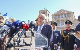 Ο Πρόεδρος της Δημοκρατίας, Προκόπιος Παυλόπουλος (Κ), απευθύνει ομιλία πριν τη δοξολογία για την εορτή του Πολιούχου της Θεσσαλονίκης Αγίου Δημητρίου, τις ιστορικές επετείους της απελευθέρωσης της Θεσσαλονίκης και της 28ης Οκτωβρίου 1940, στην εκκλησία του Αγίου Δημητρίου, Θεσσαλονίκη, Παρασκευη 26 Οκτωβρίου 2018. ΑΠΕ-ΜΠΕ/ PIXEL/ ΜΠΑΡΜΠΑΡΟΥΣΗΣ ΣΩΤΗΡΗΣ