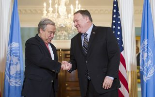 Secretary of State Mike Pompeo, right, meets with the United Nations Secretary-General Antonio Guterres at the State Department in Washington, Saturday, June 23, 2018. (AP Photo/Cliff Owen)