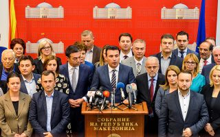 Prime Minister Zoran Zaev talk to the media after the Macedonian parliament passed constitutional changes to allow the Balkan country to change its name to the Republic of North Macedonia, in Skopje, Macedonia, October 19, 2018 .REUTERS/ Tomislav Georgiev