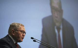 Managing Director of the European Stability Mechanism Klaus Regling speaks during an Economic conference in Lagonisi near Athens on Thursday, June 29, 2017. Greece is eyeing a return to international bond markets for the second time since the country lost access in 2010 and had to seek successive bailouts from other eurozone countries and the International Monetary Fund. (AP Photo/Petros Giannakouris)