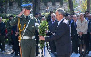 (Ξένη Δημοσίευση) Ο αναπληρωτής Υπουργός Εθνικής Άμυνας Παναγιώτης Ρήγας (Κ) εκπροσωπώντας την κυβέρνηση καταθέτει στεφάνι στις εορταστικές εκδηλώσεις για την Eθνική Eπέτειο της 28ης Οκτωβρίου, που πραγματοποιήθηκαν στη Λάρισα, την Κυριακή 28 Οκτωβρίου 2018. ΑΠΕ-ΜΠΕ/ΓΡΑΦΕΙΟ ΤΥΠΟΥ ΥΠΕΘΑ/STR