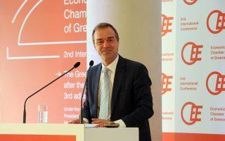 Ο επικεφαλής οικονομολόγος του ESM Rolf Strauch κατά το χαιρετισμό του στο διεθνές συνέδριο του Οικονομικού Επιμελητηρίου Ελλάδας με θέμα: