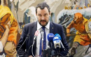 FILE PHOTO: Italy's Interior Minister Matteo Salvini talks at a news conference during his official visit in Tunis, Tunisia, September 27, 2018. REUTERS/Zoubeir Souissi/File Photo