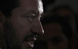Italian Interior Minister and deputy Premier Matteo Salvini attends a press conference at the G6 Interior Ministers' meeting in Decines, near Lyon, central France, Tuesday, Oct. 9, 2018. (AP Photo/Christophe Ena)