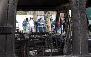 Ζημιές σε μηχανήματα και οχήματα της εταιρείας Ελληνικός Χρυσός στις Σκουριές Χαλκιδικής, μετά από εμπρηστική επίθεση που πραγματοποιήθηκε τα ξημερώματα της Κυριακής από αγνώστους στο εργοτάξιο. Σκουριές Χαλκιδικής, Κυριακή 17 Φεβρουαρίου 2013 ΑΠΕ ΜΠΕ/PIXEL/ΜΠΑΡΜΠΑΡΟΥΣΗΣ ΣΩΤΗΡΗΣ