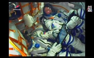 epa07085700 A handout frame grab from the Russian space agency's Roscosmos on-board video camera shows Russian cosmonaut Alexey Ovchinin (L) and US NASA astronaut Nick Hague (R) during launch of Soyuz MS-10 space craft to the International Space Station from Baikonur cosmodrom in Kazakhstan, 11 October 2018. The launch was interrupted on the second minute due to an accident in the work of the first rocket  engine stage. Both astronauts safety landed.  EPA/ROSCOSMOS HANDOUT BEST QUALITY AVAILABLE HANDOUT EDITORIAL USE ONLY/NO SALES/NO ARCHIVES