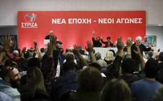 Μέλη του ΣΥΡΙΖΑ σηκώνουν τα χέρια κατά τη διάρκεια ψηφοφορίας, στην συνεδρίαση της Κ.Ε. σε πολυχώρο της Αθήνας, Κυριακή 14 Οκτωβρίου 2018.  ΑΠΕ-ΜΠΕ/ΑΠΕ-ΜΠΕ/ΓΙΑΝΝΗΣ ΚΟΛΕΣΙΔΗΣ