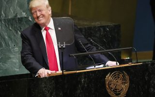 epaselect epa07045773 US President Donald Trump addresses the General Debate of the General Assembly of the United Nations at United Nations Headquarters in New York, New York, USA, 25 September 2018. The General Debate of the 73rd session begins on 25 September 2018.  EPA/JASON SZENES