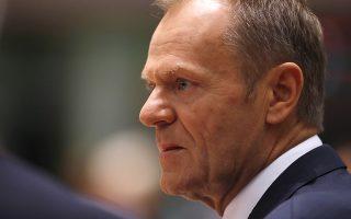 European Council President Donald Tusk attends a round table meeting at an EU summit in Brussels, Thursday, Oct. 18, 2018. EU leaders meet for a second day on Thursday to discuss migration, cybersecurity and to try and move ahead on stalled Brexit talks. (AP Photo/Alastair Grant)