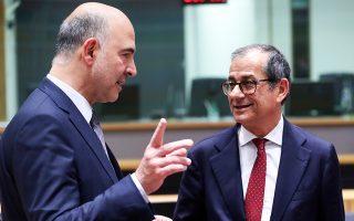 «Προτιμώ τον διάλογο ως μέθοδο επίλυσης προβλημάτων και όχι τις κυρώσεις. Αν δεν αποδώσει ο διάλογος, βέβαια, πιθανώς να επιβληθούν κυρώσεις», τόνισε ο επίτροπος Μοσκοβισί. Στη φωτογραφία, με τον Ιταλό υπουργό Οικονομικών Τζ. Τρία (δεξιά), στο περιθώριο του Eurogroup της Δευτέρας.