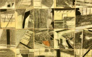 «Σημειώσεις Ταύρου», 2018. Εργο του Μάρκου Καμπάνη (ακρυλικό, κολάζ, κάρβουνο και παστέλ σε χαρτί).