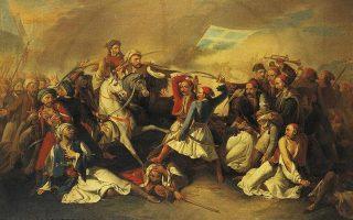 Λεπτομέρεια από τον πίνακα «Ο θάνατος του Μάρκου Μπότσαρη», του Φίλιπο Μαρσίλι (Μουσείο Μπενάκη).