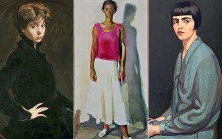 «Προσωπογραφία της συζύγου του καλλιτέχνη Φρόσως Σκουμπουρδή» (1928), Π. Βυζάντιος. Κέντρο: «Μαρίνα» (1985), Π. Τέτσης. Δεξιά: «Προσωπογραφία δίδος Μ. Χορς» (1916), Ν. Λύτρας.