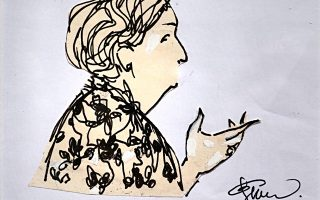 Η Κυβέλη, σε σκίτσο της Ελλης Σολομωνίδου-Μπαλάνου. Από την έκθεση στην γκαλερί Σκουφά.