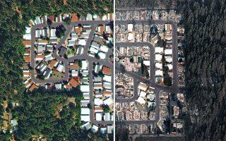 Τρισδιάστατη δορυφορική λήψη δείχνει την κατάσταση πριν και μετά (αριστερά και δεξιά, αντίστοιχα) τη φονική πυρκαγιά που κατέστρεψε την κοινότητα Παραντάις στη βόρεια Καλιφόρνια. Οι Αρχές ανησυχούν ότι οι βροχές που αναμένονται τα επόμενα 24ωρα θα δυσχεράνουν περαιτέρω το έργο ανεύρεσης των περίπου 700 αγνοουμένων, ενώ είναι πιθανό να προκαλέσουν πλημμύρες.