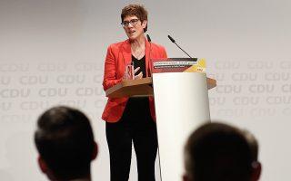 Η γενική γραμματέας των Χριστιανοδημοκρατών Ανεγκρέτ Κραμπ-Καρενμπάουερ στο Χάλε.