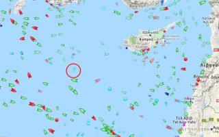 Το ερευνητικό σκάφος Μπαρμπαρός - που εντοπίζεται εντός του κόκκινου πλαισίου επί του χάρτη της ιστοσελίδας marinetraffic.com - μπαινοβγαίνει πότε προς τα κυπριακά και πότε προς τα ελληνικά χωρικά ύδατα.