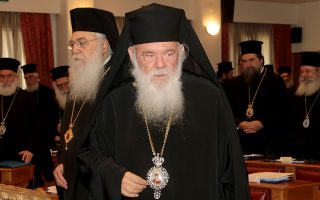Ο Αρχιεπίσκοπος Αθηνών και πάσης Ελλάδος Ιερώνυμος στην έναρξη της συνεδρίασης της Ιεραρχίας της Εκκλησίας της Ελλάδος , Παρασκευή 16 Νοεμβρίου 2018. Συνεδρίασε εκτάκτως η Ιεραρχία της Εκκλησίας της Ελλάδος προκειμένου να αποφανθεί αναφορικά με το προσύμφωνο του Αρχιεπισκόπου Αθηνών και πάσης Ελλάδος Ιερωνύμου με τον πρωθυπουργό Αλέξη Τσίπρα για τις σχέσεις Εκκλησίας – Πολιτείας. ΑΠΕ-ΜΠΕ/ΑΠΕ-ΜΠΕ/Παντελής Σαίτας