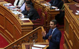 Ο πρόεδρος της ΝΔ Κυριάκος Μητσοτάκης μιλάει στη συζήτηση  και λήψη απόφασης, σύμφωνα με τα άρθρα 68 παρ. 2 του Συντάγματος και 144 επ. του Κανονισμού της Βουλής:  Α.  Επί της προτάσεως που κατέθεσαν ο Πρόεδρος της Κοινοβουλευτικής Ομάδας του Συνασπισμού Ριζοσπαστικής Αριστεράς κ. Αλέξης Τσίπρας και οι Βουλευτές του κόμματός του και ο Πρόεδρος της Κοινοβουλευτικής Ομάδας των Ανεξαρτήτων Ελλήνων κ. Παναγιώτης (Πάνος) Καμμένος και οι Βουλευτές του κόμματός του, για σύσταση Εξεταστικής Επιτροπής για τη διερεύνηση σκανδάλων στον χώρο της Υγείας κατά τα έτη 1997-2014,  και Β. Επί της προτάσεως που κατέθεσε ο Αρχηγός της Αξιωματικής Αντιπολίτευσης και Πρόεδρος της Κοινοβουλευτικής Ομάδας της Νέας Δημοκρατίας κ. Κυριάκος Μητσοτάκης και οι Βουλευτές του κόμματός του, για σύσταση Εξεταστικής Επιτροπής  για τη διερεύνηση της διαχείρισης και των δαπανών της δημόσιας υγείας από το 1996 μέχρι σήμερα, Μεγάλη Τετάρτη 12 Απριλίου 2017. ΑΠΕ-ΜΠΕ/ΑΠΕ-ΜΠΕ/ΑΛΕΞΑΝΔΡΟΣ ΒΛΑΧΟΣ