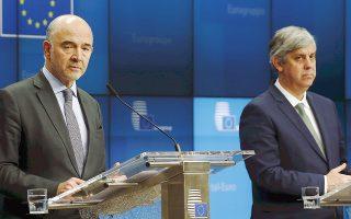«Είμαστε σίγουροι ότι η Ελλάδα θα συνεχίσει την πρόοδό της στις μεταρρυθμίσεις», τόνισε ο πρόεδρος του Eurogroup Μ. Σεντένο (δεξιά), ενώ ο επίτροπος Μοσκοβισί ουσιαστικά προανήγγειλε την έγκριση του ελληνικού προϋπολογισμού.